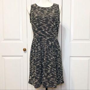 • Ann Taylor LOFT A-Line Black/White Midi Dress •